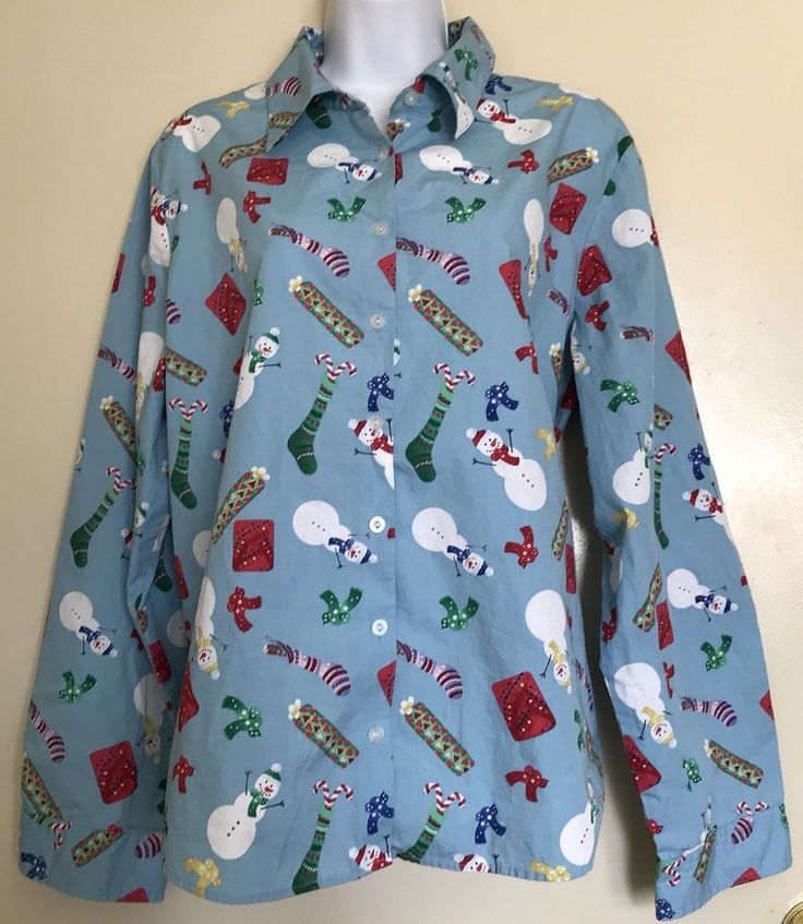 KAREN SCOTT SPORT Women's Long Sleeve Christmas Holiday Blouse Top Size XL #KARENSCOTTSPORT #Blouse