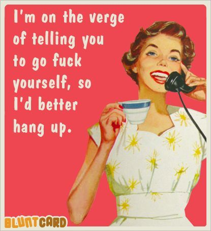 charming life pattern: retro - humor - sassy - quote - I'd better hang up...