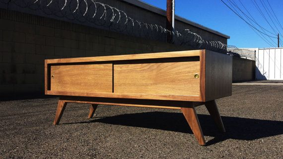 Mid century modern TV console, credenza, TV stand, mcm, modern, minimal, record player