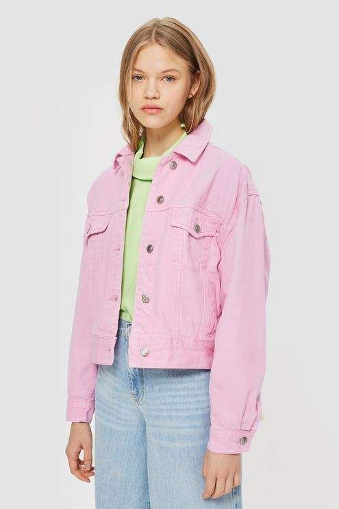 55c356418ca Bubblegum Pink Boxy Denim Jacket in 2019 | summer 2018 | Jackets ...