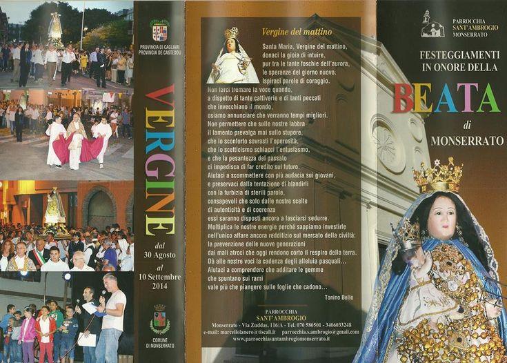 FESTEGGIAMENTI IN ONORE DELLA BEATA VERGINE – MONSERRATO – 30 AGOSTO- 10 SETTEMBRE 2014