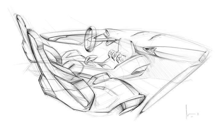 interior car sketch by Marvin Carvalho