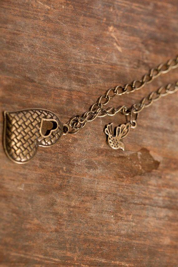 Heart & little bird pendant