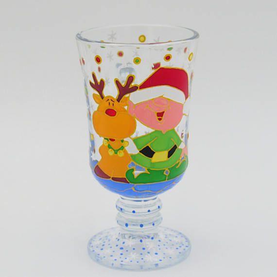 Deer Rudolph Elf Santa Claus Mug Hand Painted Gift Coffee