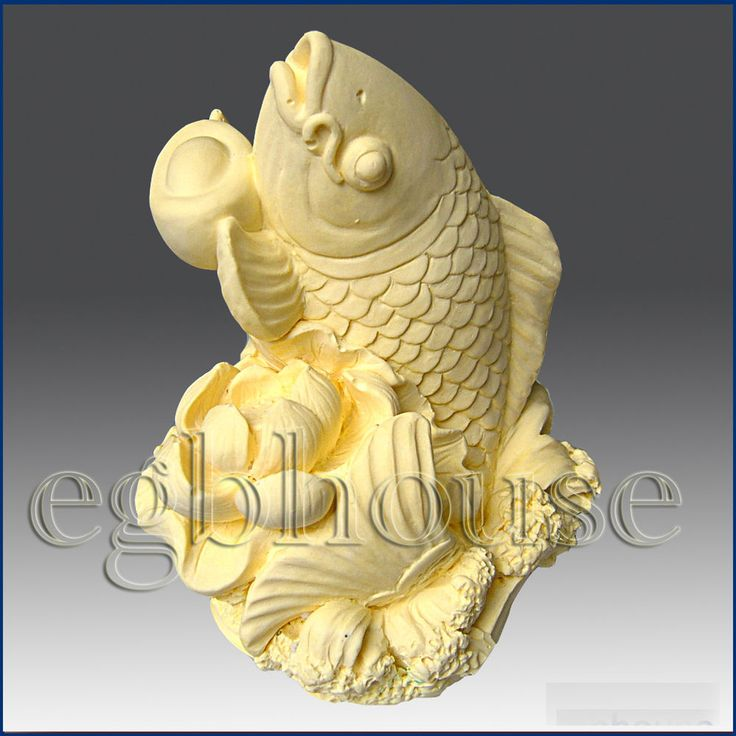 """– Lucky Carp with Lotus. Leaping gracefully from a lotus pond, this lifelike carp is the perfect """"lucky fish"""". Featuring lovely details, finished soaps and candles make elegant accent pieces and wonderful gifts for the Asian New Year. 