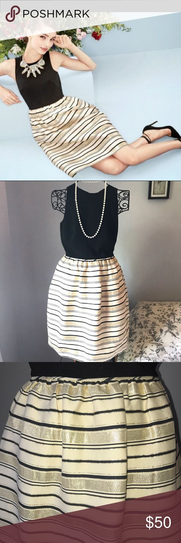 "J.CREW metallic gold-stripe cocktail dress 4 Who says your little black dress has to be all black? Poly shell, cotton/silk skirt. On-seam pockets. Lined. Dry clean. Gorgeous dress! Fitted at waist. Falls 39 1/4"" from high point of shoulder (based off size 6). J. Crew Dresses Midi"