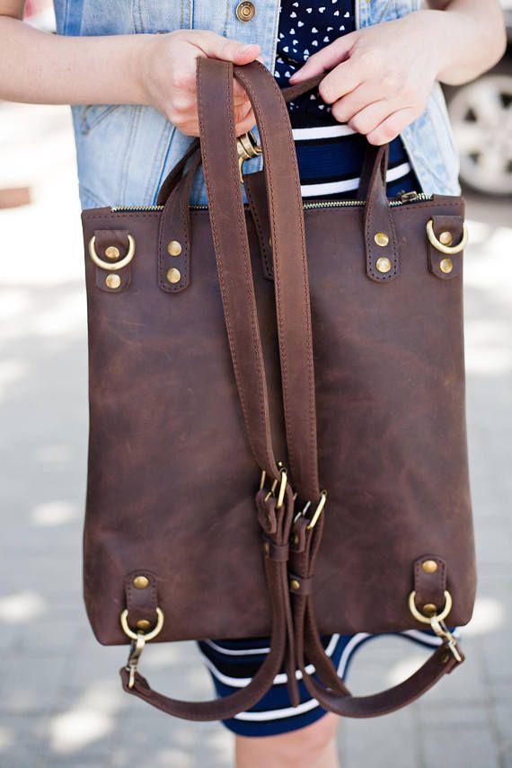 Leather Rucksack leather backpack women travel bag women Brown Backpack