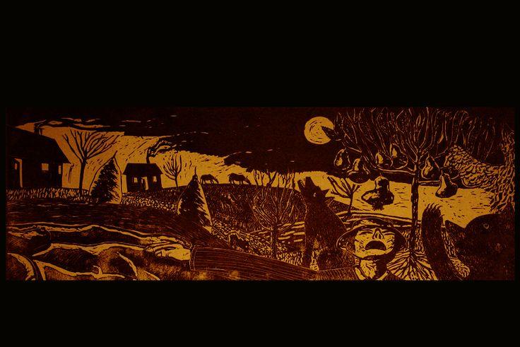 Poveste de seara.Linogravura 68x25cm.1999