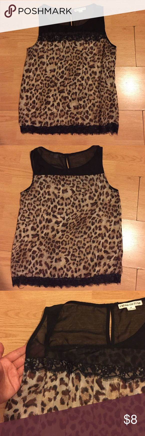 Sleeveless Leopard Blouse Sleeveless leopard blouse. See through. Also comes with lace design. Worn once. Open to offers! Tops Blouses