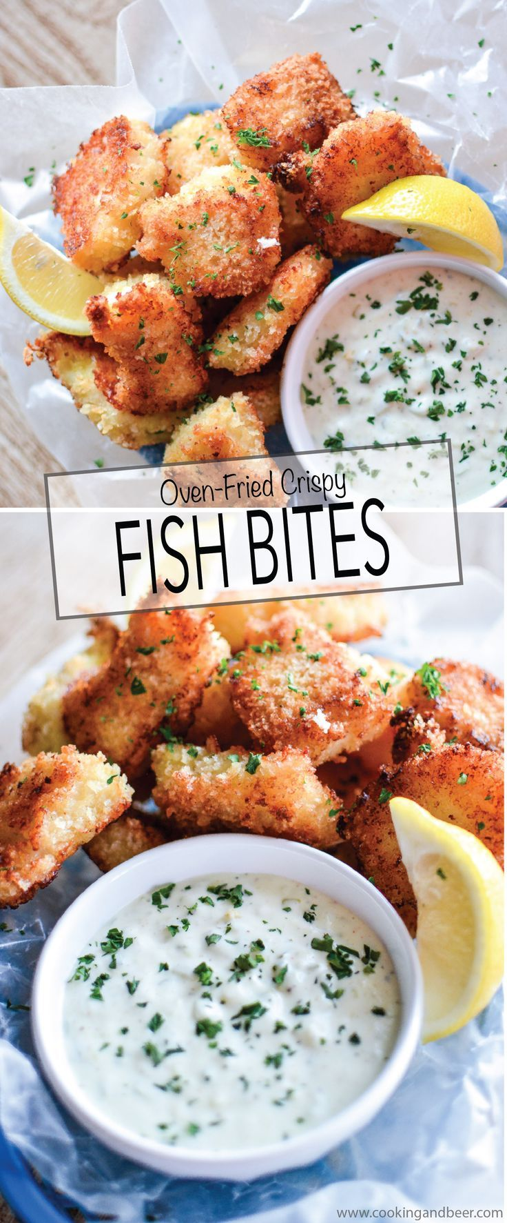 Recipe for Crispy Oven-Fried Fish Bites with Homemade Tartar Sauce is a quick weeknight meal that is kid friendly and so much better than the frozen stuff! | www.cookingandbeer.com
