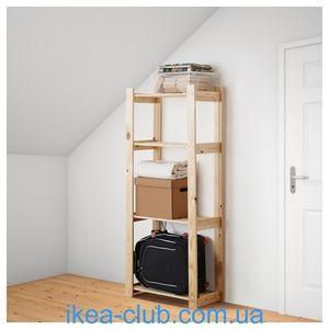 ИКЕА, IKEA, АЛЬБЕРТ, 001.119.94, Стеллаж, хвойное дерево сосна, 64x28x159 см