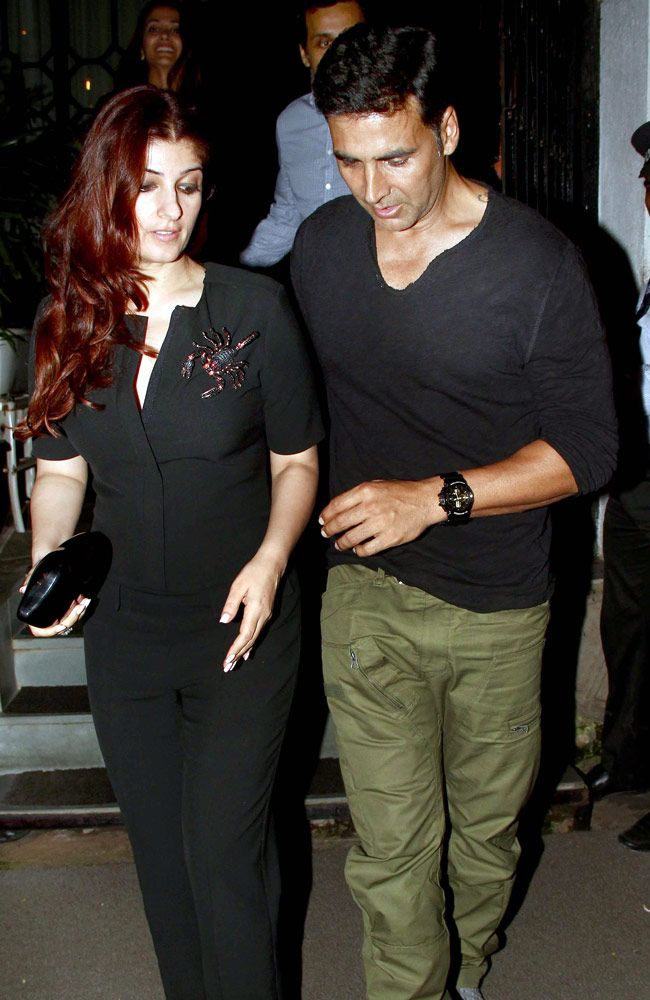 Akshay Kumar and Twinkle Khanna seen coming out of a posh restaurant in Mumbai. #Bollywood #Fashion #Style #Beauty #Handsome
