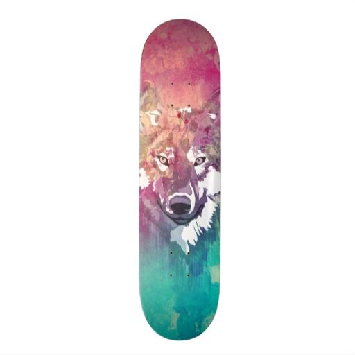 114 best skateboards for girls images on pinterest skateboard pink turquoise watercolor artistic abstract wolf skateboard deck voltagebd Image collections