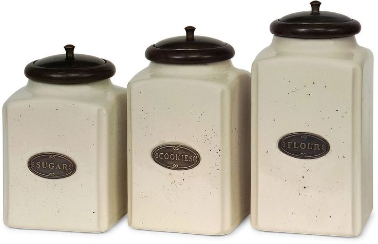 Ceramic Canister Ivory Solid Wood Metal Classic Kitchen Storage 3 Piece Set New #Imax #Canister #Kitchen #Storage #Ceramic