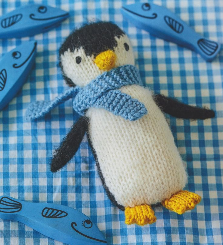 Knitted penguin toy from my book, Knitted Animal Nursery, 2017