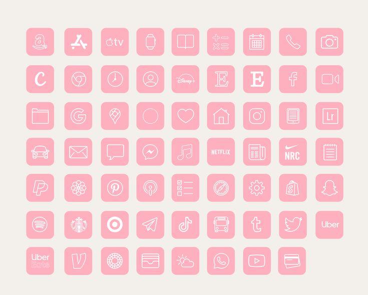 Ios 14 icons iphone app pack 62 pink app pack ios 14