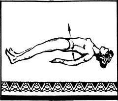 Лежа на спине, затылком, локтями и пятками опереться о пол, сделав глубокий вдох и приподнять корпус, выгнув вверх живот и грудь