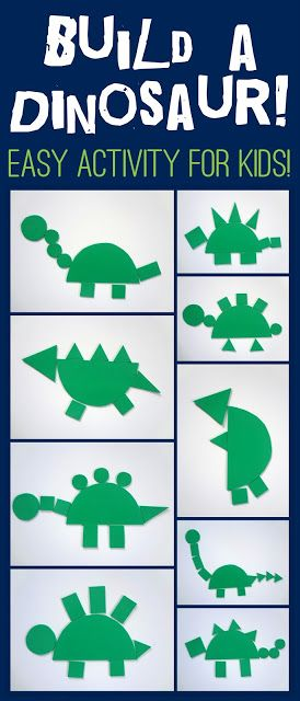 Fun & Simple dinosaur activity for kids! Maybe for older kids give each shape a numerical value and have them add how much their dino is worth. Can use with class to compare/contrast amounts, etc.