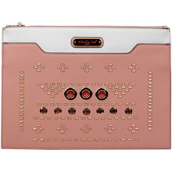 Nicole Lee Acalia Gold-Tone Embellish Oversized Clutch - Pink -... ($50) ❤ liked on Polyvore featuring bags, handbags, clutches, pink, beige clutches, pink leather handbags, leather clutches, pink clutches and metallic clutches