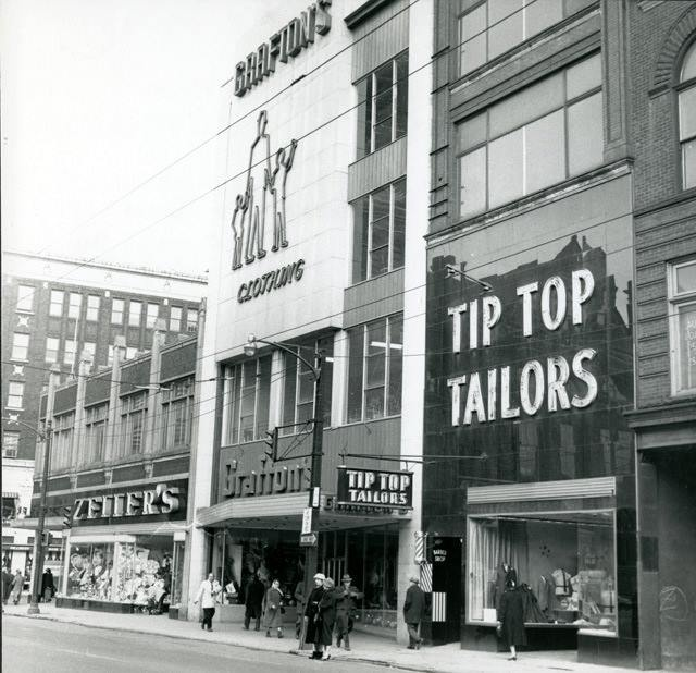 DOWNTOWN ZELLER'S, GRAFTON'S, MOM BOUGHT ME A COAT THERE AND TIP TOP MENS' SHOP