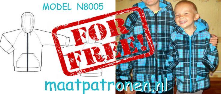 MAATPATRONEN JAS met rits en capuchon. MODEL N8005  #maatpatronen #patronen_op_maat #herenkleding_patroon #heren_jas #jas_patroon #grote_maat_patroon #tienerkleding_patroon