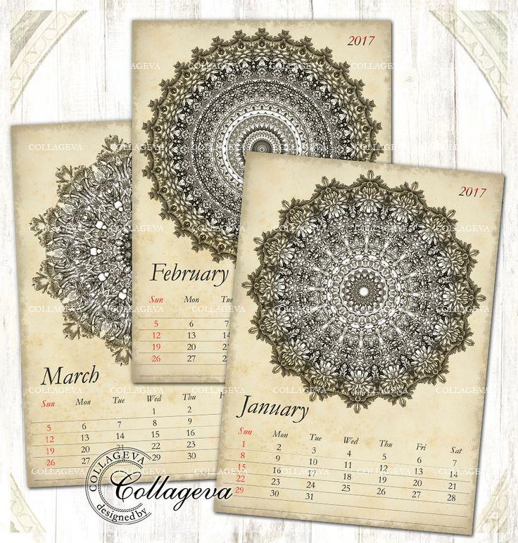 "Vintage Mandalas 2017 Printable Monthly Calendar, 5x7"" PDF & JPEG Instant Download, Kaleidoscope Detailed Rosette, Grunge Old paper (C016-17 by collageva on Etsy"