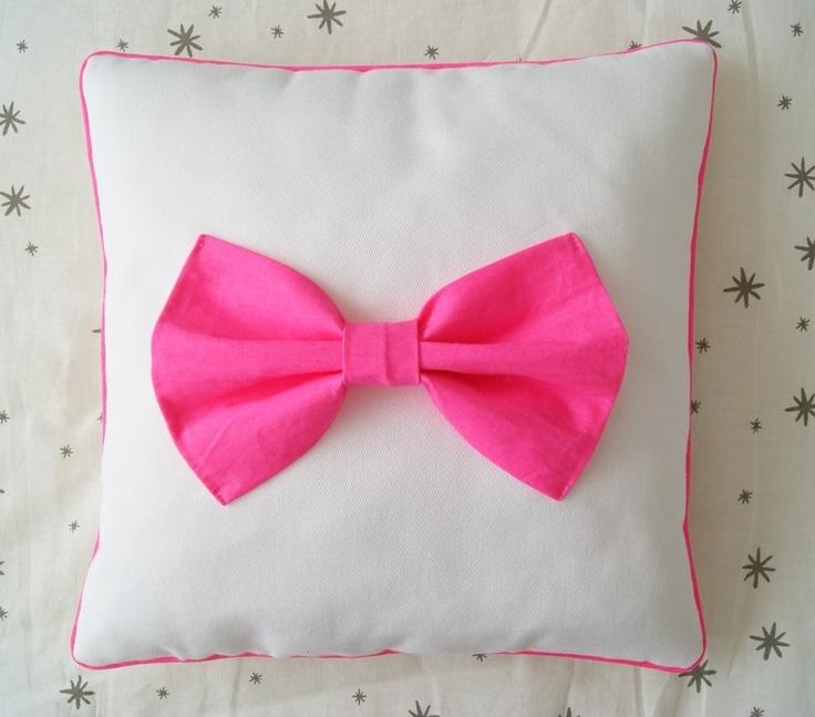 Neon Pink Bow Cushion
