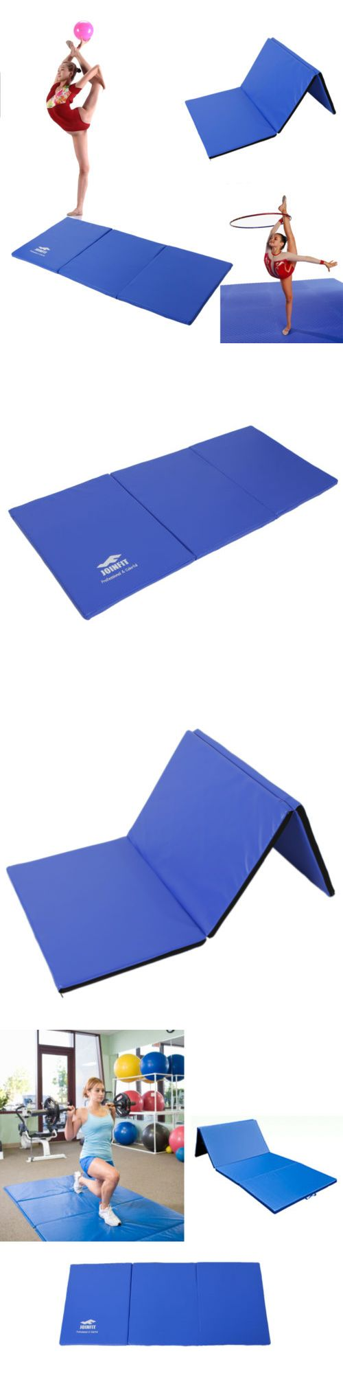 Exercise Mats 44079: Folding Panel Thick Gymnastics Mat Gym Fitness Exercise Stretching Yoga Pad Blue -> BUY IT NOW ONLY: $34.99 on eBay!
