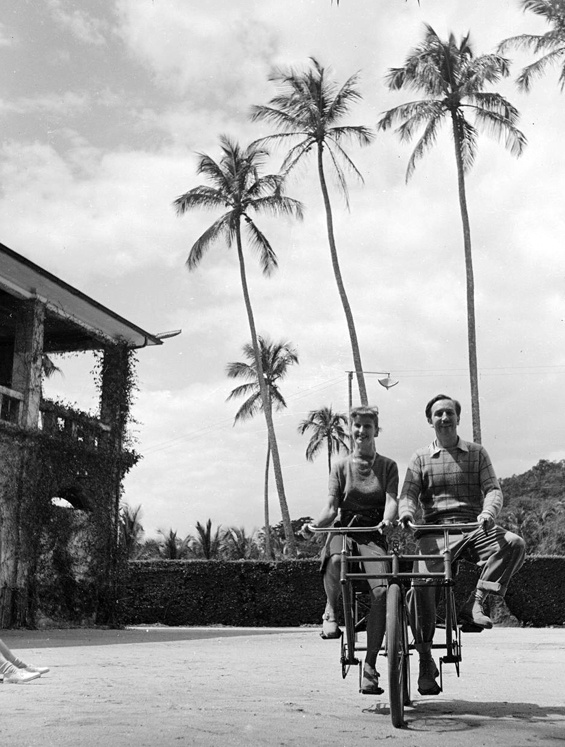 Walt Disney and Mary Blair on a Bicycle