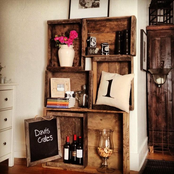 Davis Crates & Vintage Designs | Picasso Shelving | Display from old wine boxes