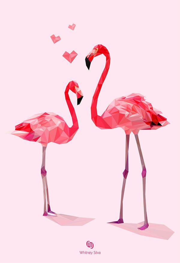 Low-Poly Flamingos