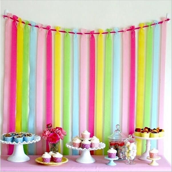 10m/Roll Crepe Paper Streamers Decoration DIY Paper