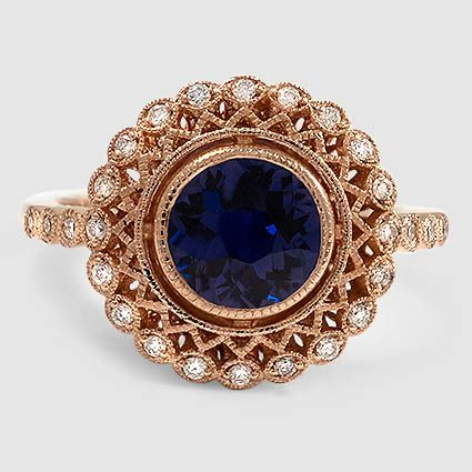 14K Rose Gold Sapphire Alvadora Diamond Ring // Set with a 6.5mm Premium Color C…