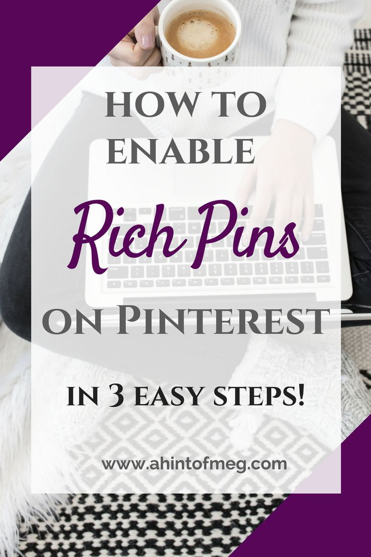 How to set up rich pins on Pinterest in 3 easy steps! A tutorial to use the rich pin validator on a wordpress site. Blogger | Business #pinterestmarketing #socialmediamarketing #blogger
