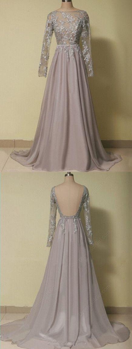 Elegant Evening Dress,Long Sleeve Prom Dress,Chiffon Long Evening Formal Dress,Formal Gown by fancygirldress, $169.00 USD