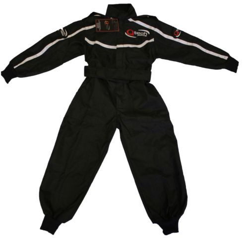 GO-Kart-One-Piece-RACE-SUIT-Overalls-by-Qtech-Karting-Quilted-Polycotton-BLACK  £26.95