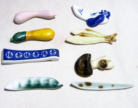 Collection 8 Ceramic Chopsticks Rests Signed Fish Vegetables Blue White 116dgz