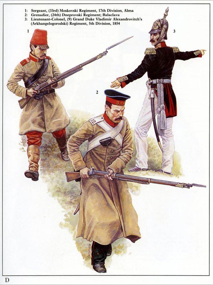 Russian; 17th Division, 33rd Moskovski Regt, Sergeant, Battle of Alma. 24th Dneprovski Regt, Grenadier, Battle of Balaclava & 5th Division, 9th Grand Duke Vladamir Alexandrovitch(Arkhangelogorodiski) Regt. Lieutenant-Colonel, 1854.