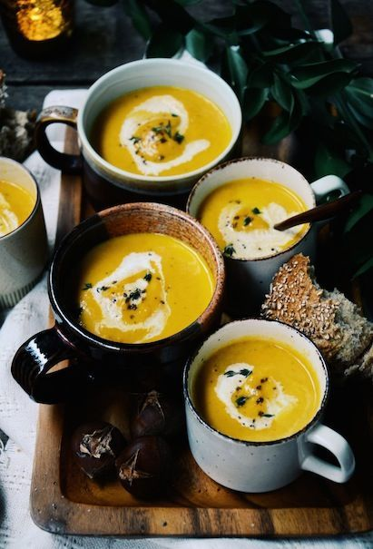 Roasted Chestnut, Carrot & Curry Soup. Perfect after an autumn walk.