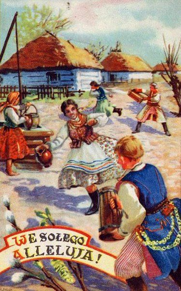 Vintage Easter postcard showing Śmigus Dyngus in a village of the Kraków region, 1938,
