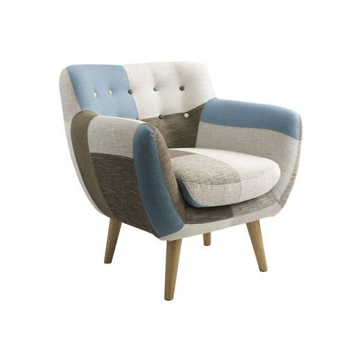 Bergman Armchair in Patchwork Fab, Living - Chairs - Armchairs, for the low window seat in kids' living?  With Bergman ottoman