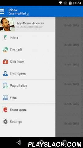 Exact Self Service  Android App - playslack.com ,  Whether you want to book a day off, check your latest salary slip, view your latest review from your personal files, check your work or look up the phone number of a colleague, the Exact Self Service App has it all. And for that one time that you're sick, inform your manager via the App. The Exact Self Service App is your personal App. The App shows your personal information. Besides insight in your time off balance, salary slips, personal…