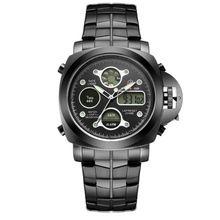 2017 Best Selling relojes deportivos hombres Black Stainless Steel Men Shark watch style Analog Digital Alarm Water Resistant