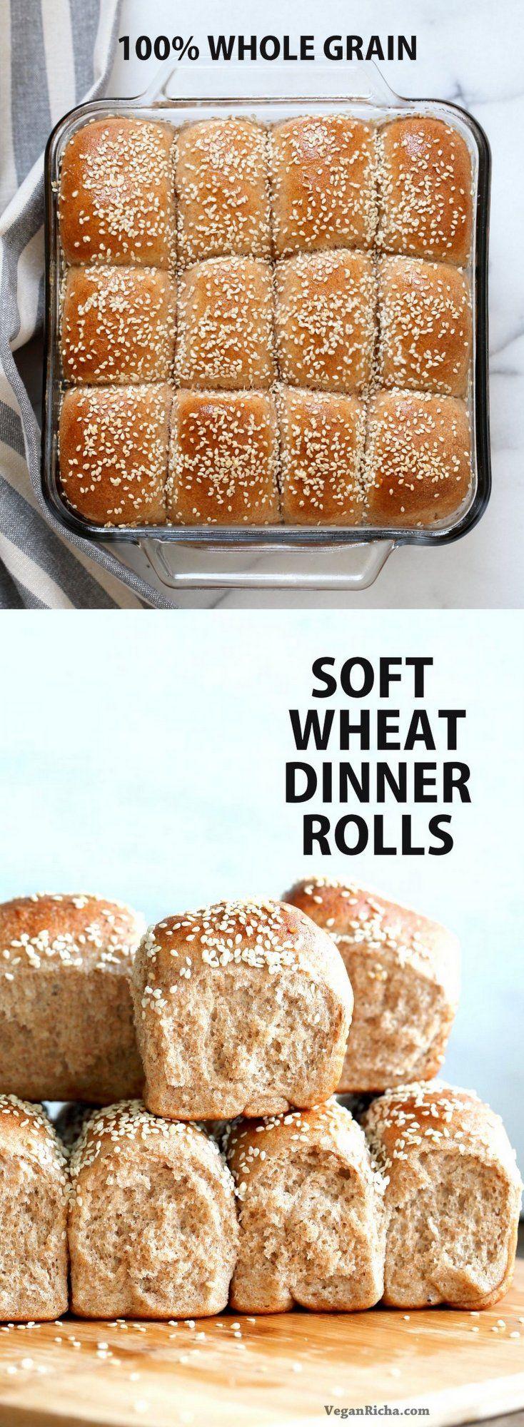 Soft Whole Wheat Dinner Rolls - Vegan Richa
