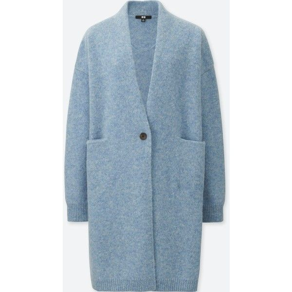 UNIQLO Women's Melange Wool Coat (2.255 RUB) ❤ liked on Polyvore featuring outerwear, coats, light blue, light blue wool coat, blue coat, uniqlo coats, blue wool coat and blue wool coats
