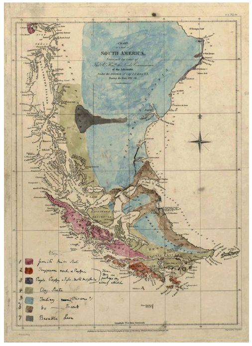 1st geological map of patagonia, drawn & colored by charles darwin, ca. 1840 / scipsy via crush cul de sac