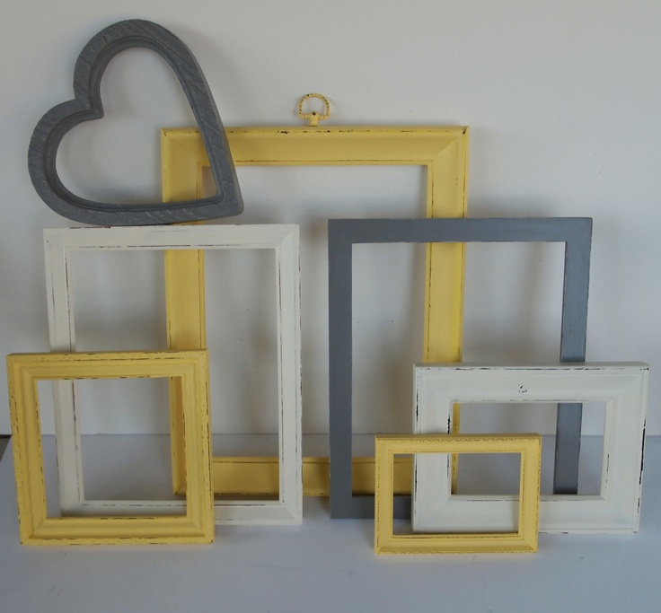 Picture Frames Yellow Gray Grey White Vintage Painted And Distressed Modern  Gallery Wall Home Decor.