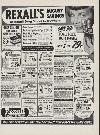 """1951 Rexall Drug Store Ad """"August Savings"""""""