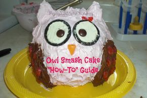 "Owl Smash Cake ""How To"" Guide--cuteness overload!"