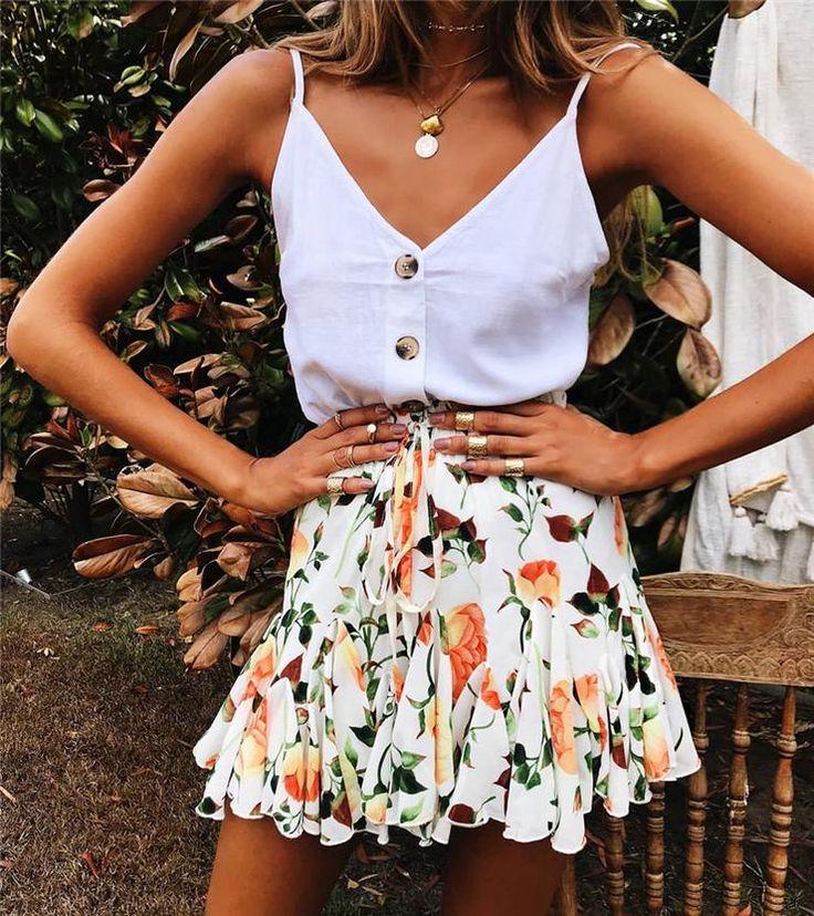 Orange Rose Print Withdraw Mini Skirt